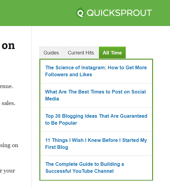 quicksprout top posts