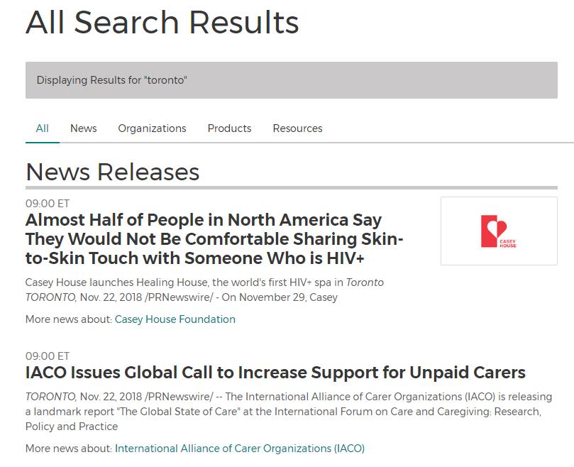 press release search results